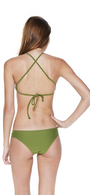 Olive Two Piece High Neck Criss-Cross Tank Bikini - Emprada