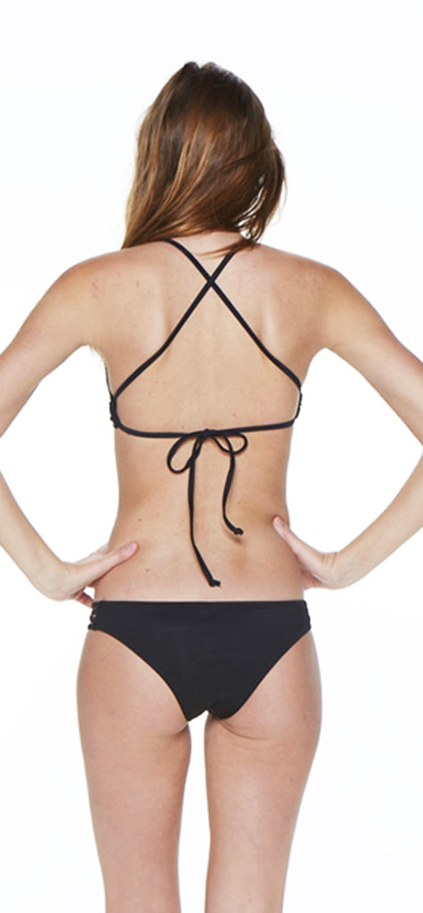 Black Two Piece High Neck Criss-Cross Tank Bikini - Emprada