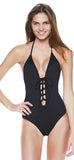 Front Laced backless Halter One Piece Swimwear - Emprada