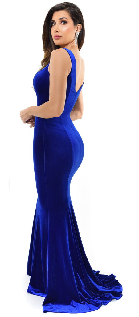 Joella Royal Blue Velvet Gown - Emprada