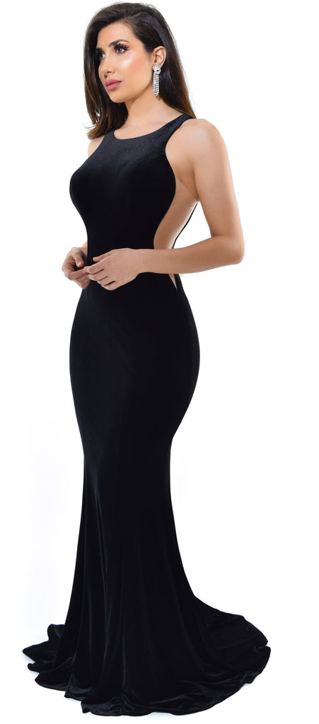 340c831d0da9 Ginevra Black Velvet Gown Dress - Emprada