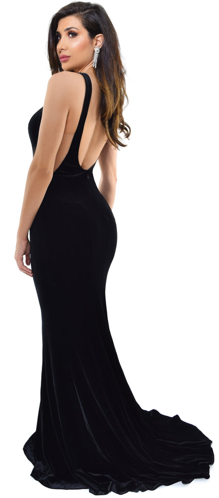 Ginevra Black Velvet Gown Dress - Emprada