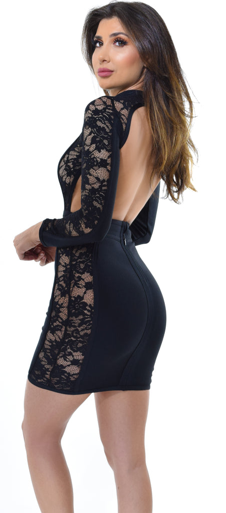 Rinah Black High Neck Lace Bandage Dress