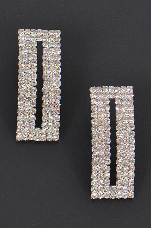 Rectangle Silver Rhinestone Stud Earrings