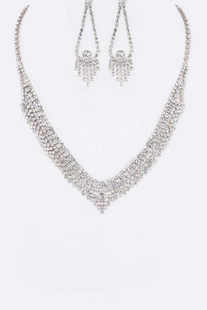 Rhinestone Silver Necklace, Earrings & Bracelet Set