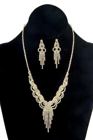 Chandelier Rhinestone Gold Necklace & Earrings Set