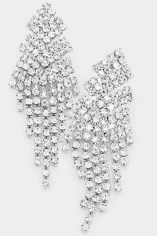 Crystal Rhinestone Statement Fringe Earrings