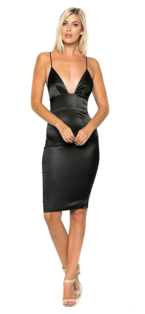 Black Satin Midi Dress - Emprada