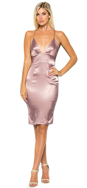 Mauve Satin Midi Dress - Emprada