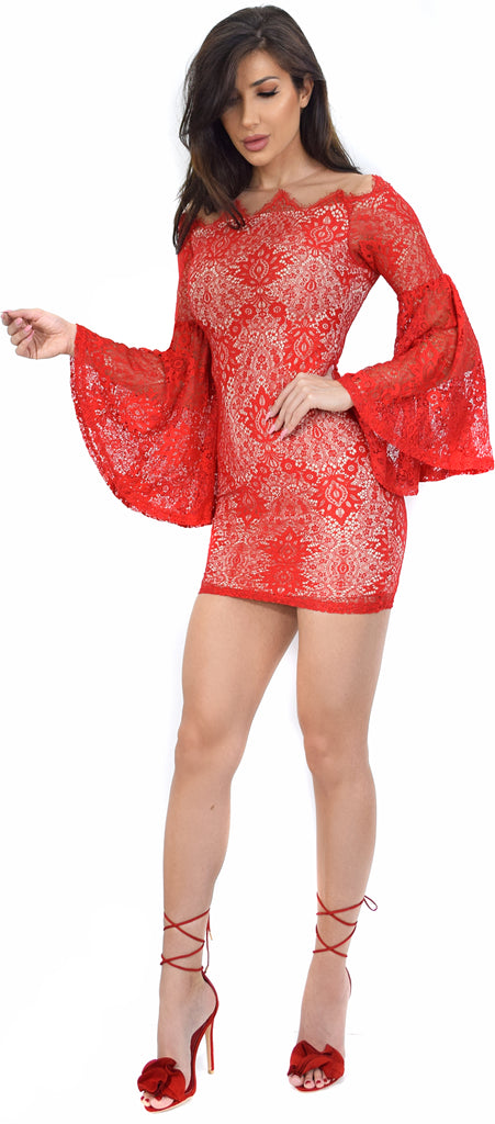 Sonja Red Lace Bell Sleeve Dress