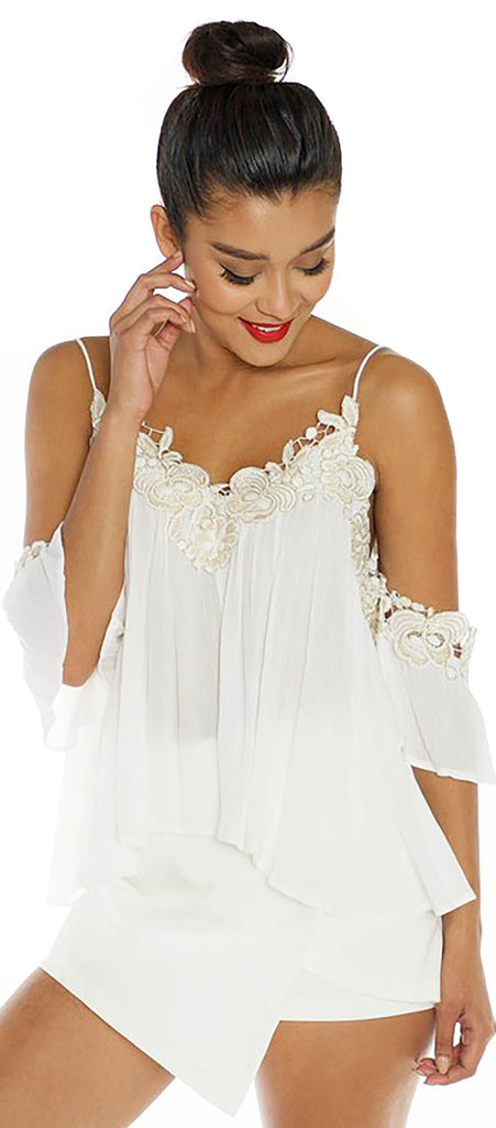 Val White Gold Trim Off Shoulder Top - Emprada