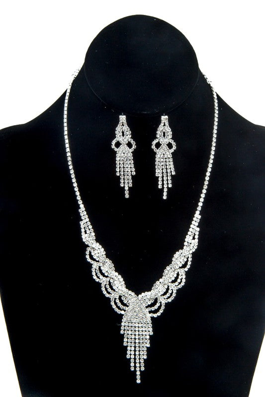 Chandelier Rhinestone Silver Necklace & Earrings Set