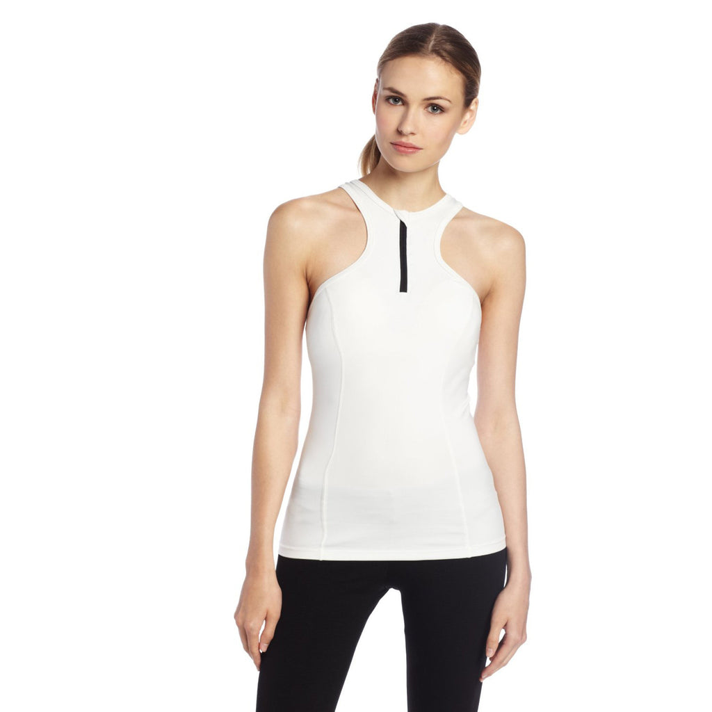 Women's White Racer Front Performance Tank Top - Emprada