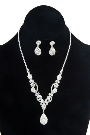 Teardrop Silver Rhinestone Necklace & Earrings Set