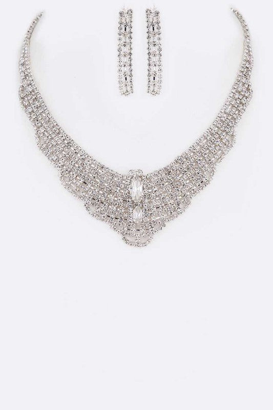 Rhinestone Silver Statement Necklace & Earrings Set