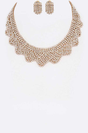 Rhinestone Gold Scallop Collar Necklace & Earrings Set