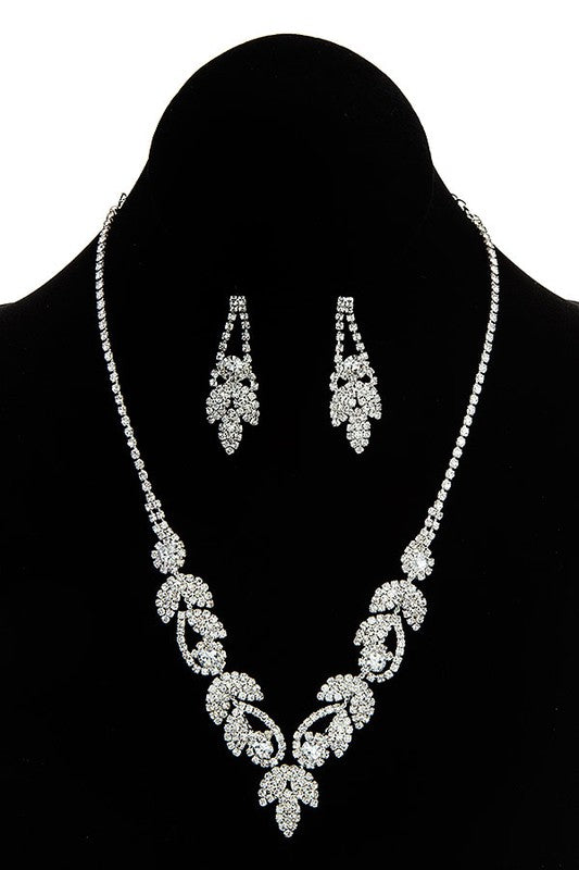 Crystal Rhinestone Clear Pave Necklace & Earrings Set