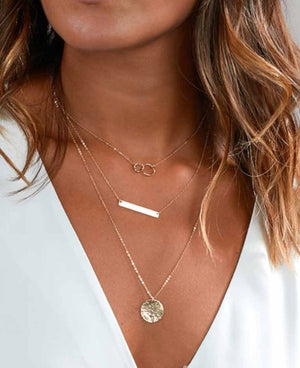Gold Coin and Bar Necklace