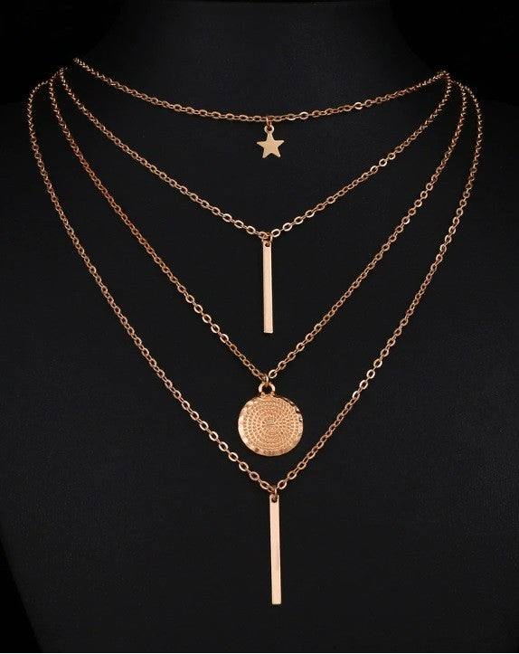 Multilayer Gold Round Coin Star Necklace