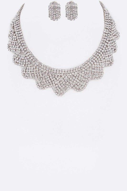 Rhinestone Silver Scallop Collar Necklace & Earrings Set