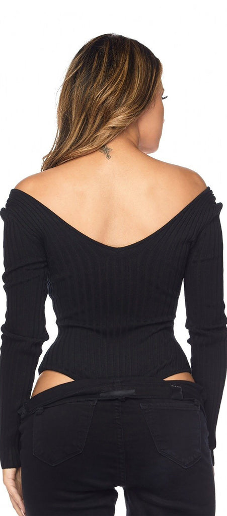 Helaina Black Off Shoulder Ribbed  Bodysuit