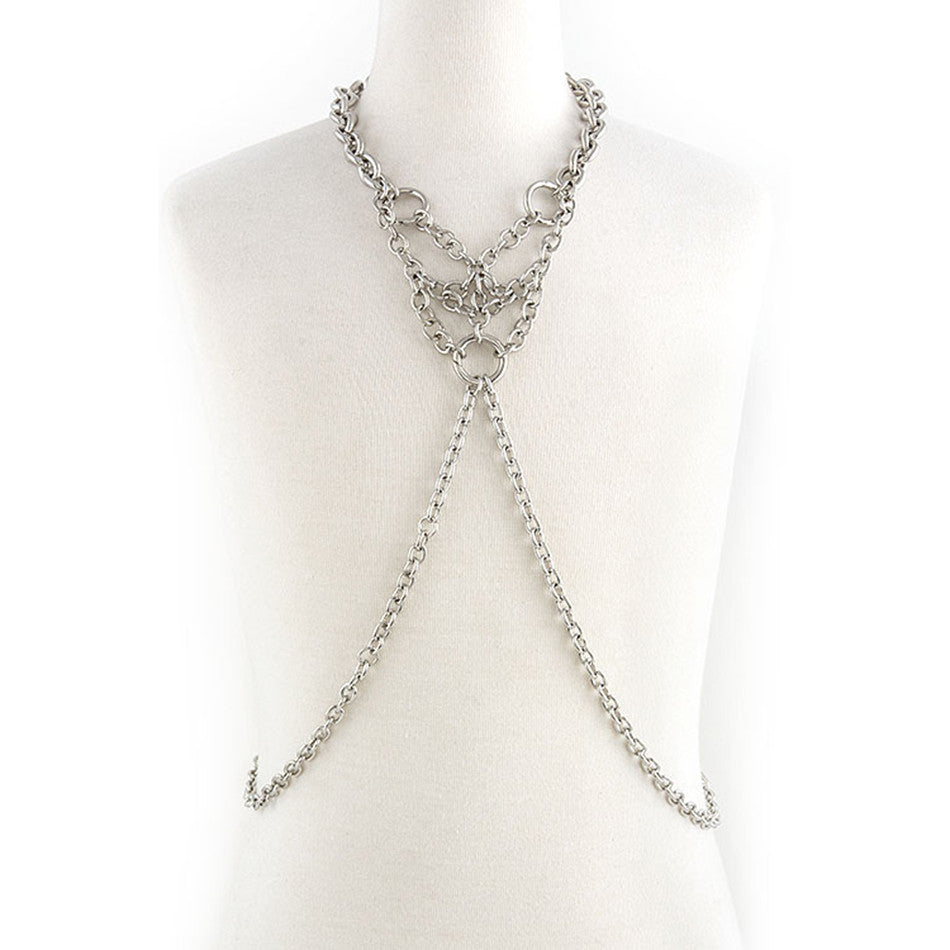 Cluster Ring Silver Body Chain - Emprada