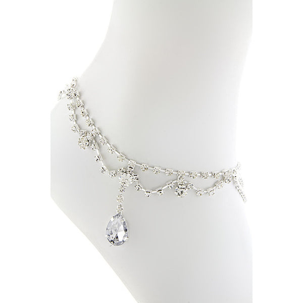 Crystal Teardrop Dangle Anklet - Emprada