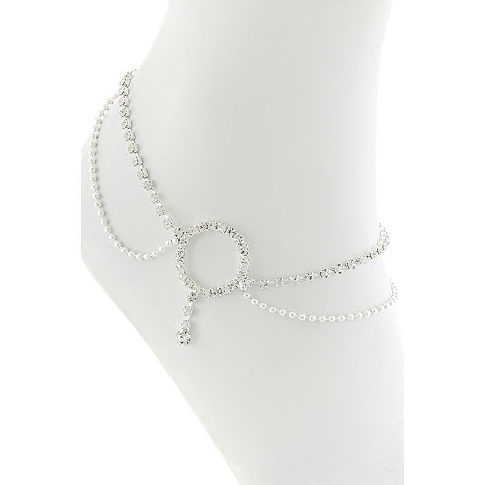 Crystal Lined Circle Anklet - Emprada
