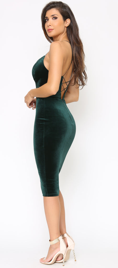 Rosalba Emerald Green Velvet Dress