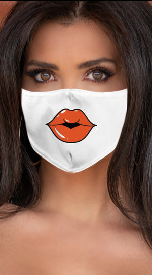 Lips Orange White Women's Reusable Face Mask