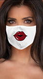 Lips Dark Red White Women's Reusable Face Mask