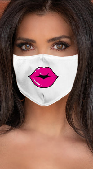 Lips Hot Pink White Women's Reusable Face Mask
