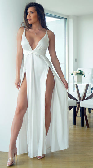 Niya White Satin Twist Double Slit Maxi Dress