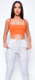 Ilva Neon Orange Square Neck Crop top