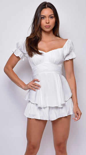 Meena White Off Shoulder Ruffled Romper