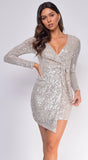 Gabrielle Champagne Silver Overlap Tie Long Sleeve Dress
