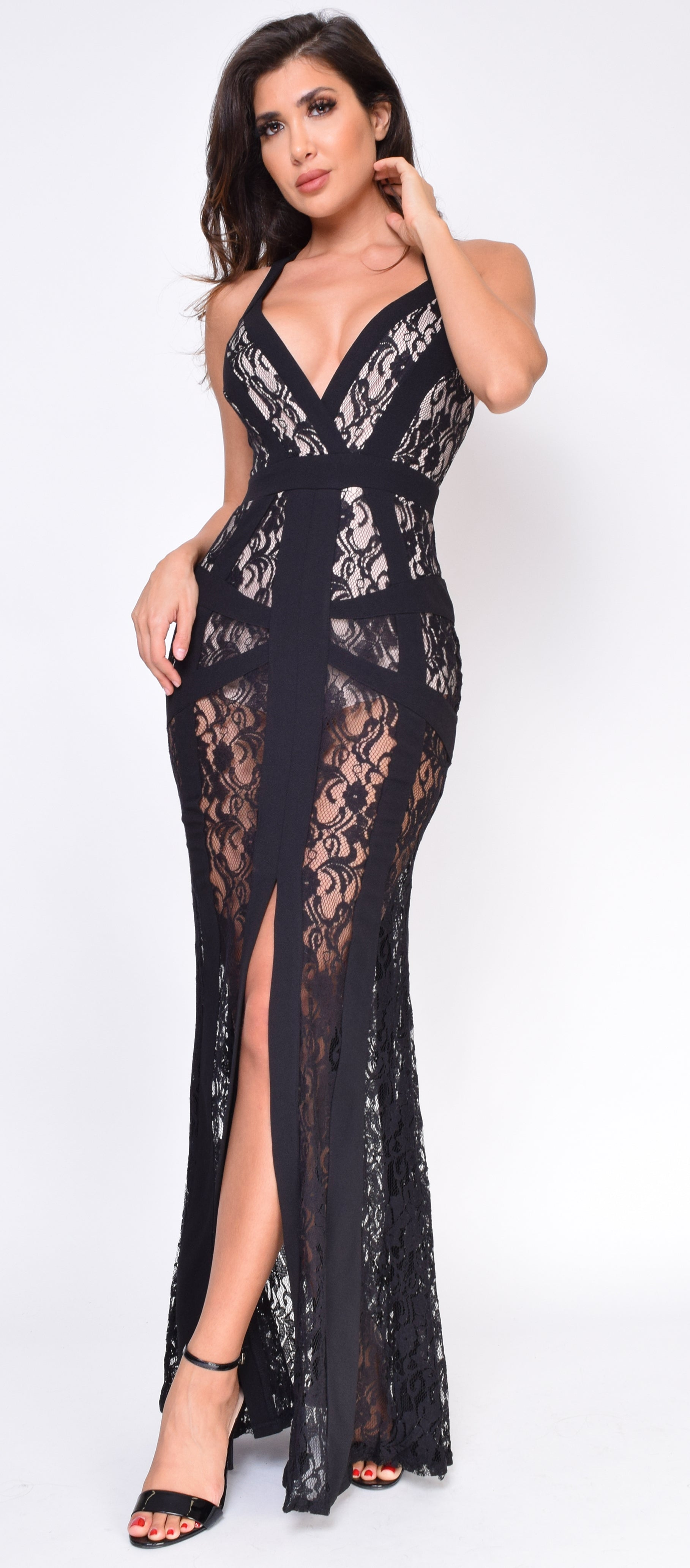 Vegas Black Lace Maxi Dress