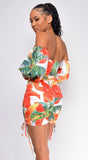 Roya White Floral Print Off Shoulder Satin Dress