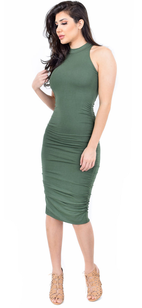 High Neck Olive Ruched Midi Dress