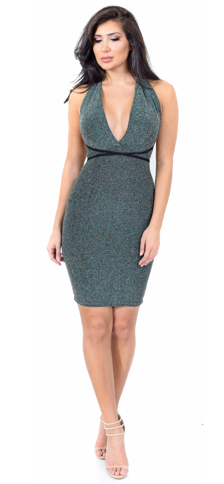 Green Metallic Halter Neck Dress - Emprada