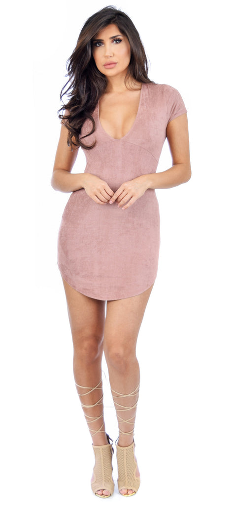 Jana Mauve Faux Suede Dress - Emprada