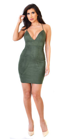 Cross Back Forest Green Faux Suede Mini Dress - Emprada