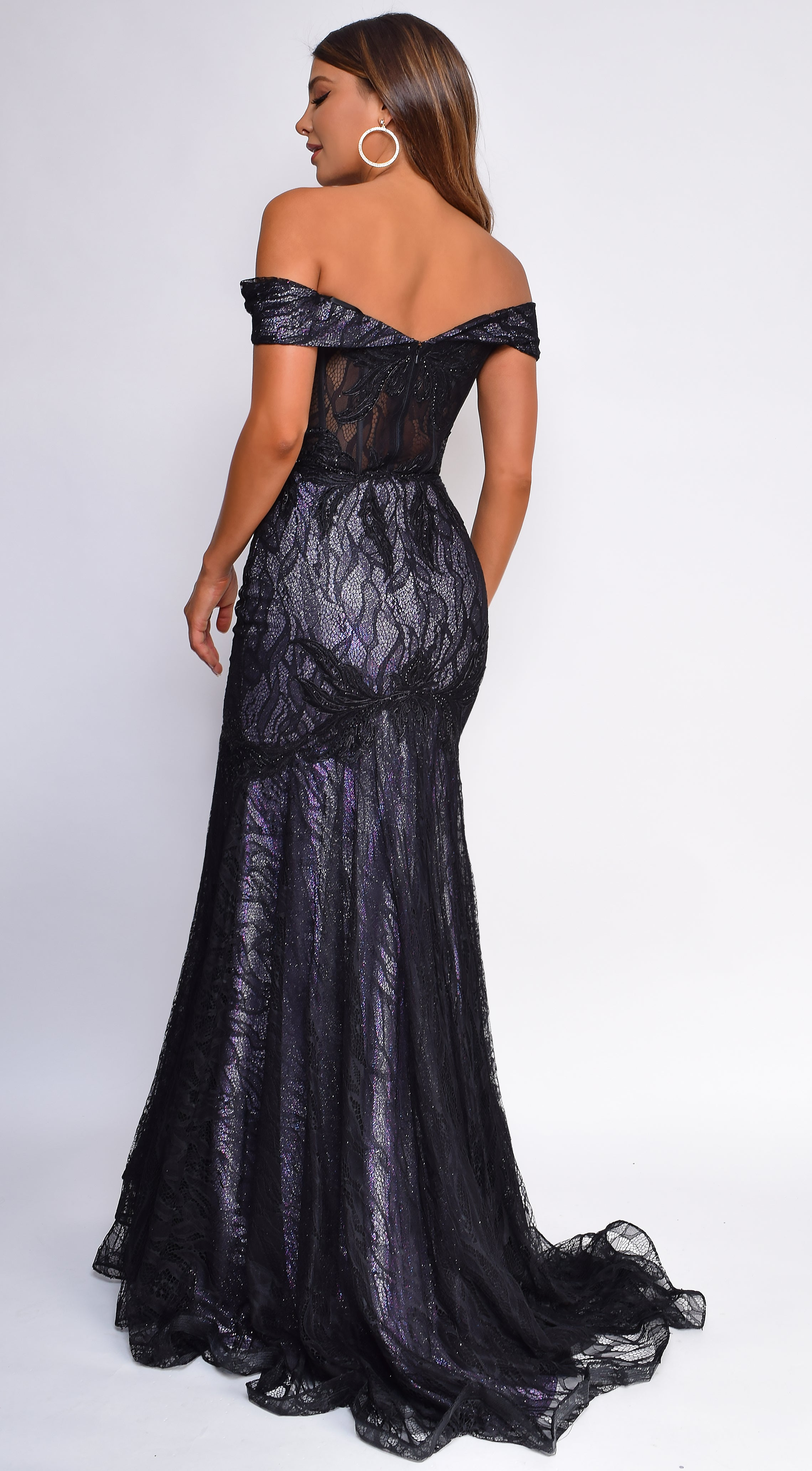 Floriana Black Lilac Off Shoulder Mermaid Lace Gown