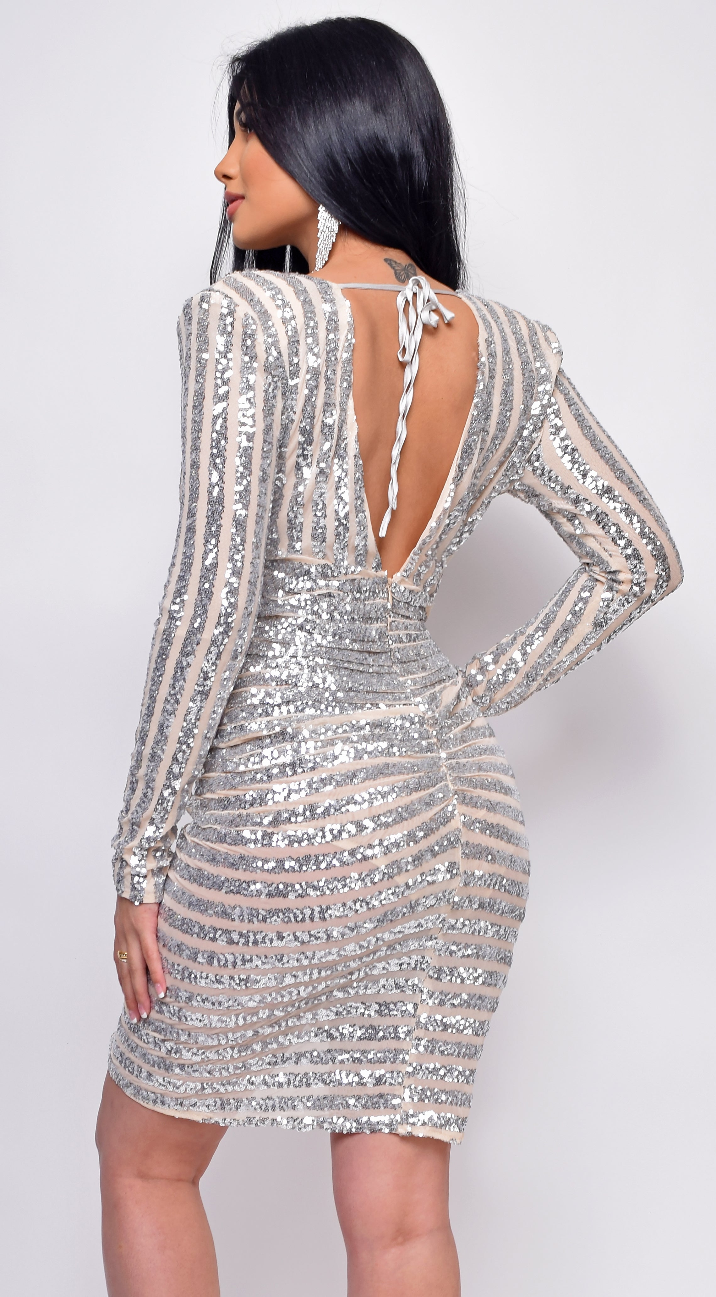 Arlinda Nude Silver Sequin Stripe Drape Mini Dress