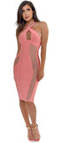 Kierre Peach Pink Criss Cross Halter Mesh Bandage Dress