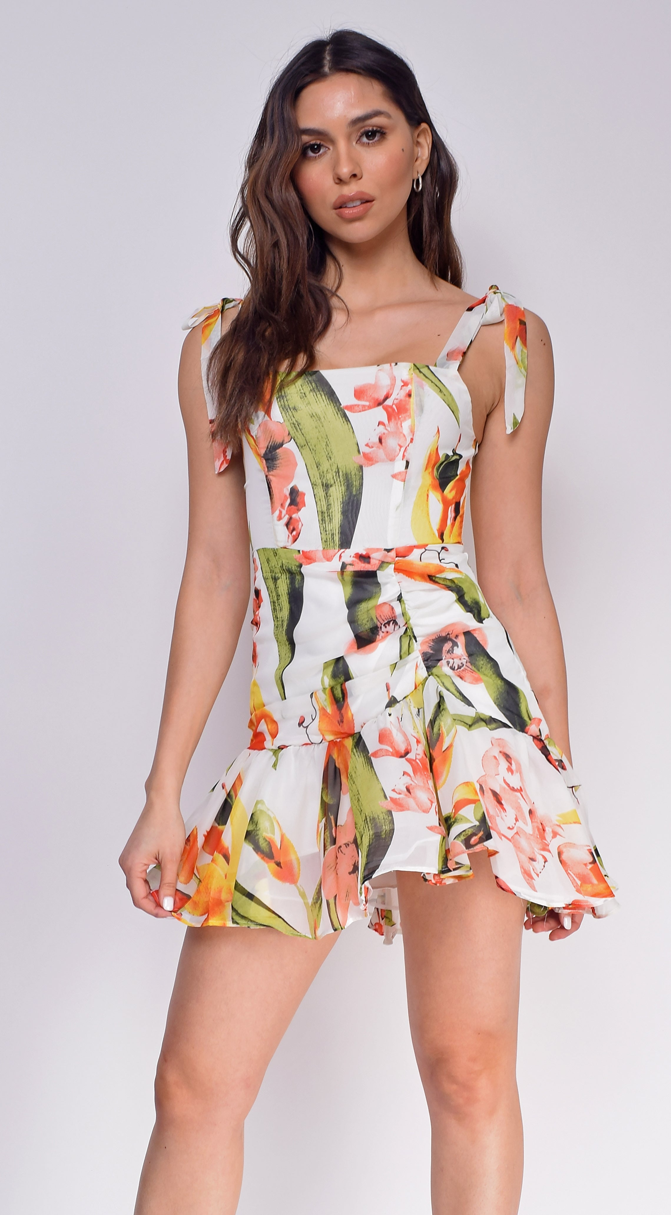 Alessia White Tropical Floral Print Dress