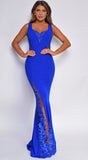 Rome Royal Blue Scalloped Embroidered Lace Gown