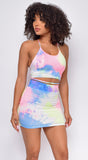 Fusion Pink Blue Tie Dye Summer Skirt Set
