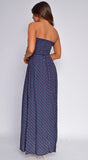 Alethea Navy Blue Floral Print Smocked Double Slit Maxi Dress
