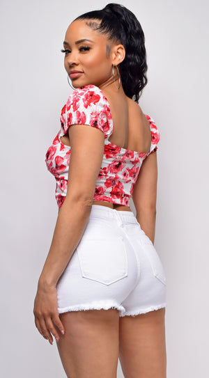 Sam White Pink Floral Bustier Top